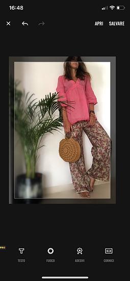 Pantaloni ampi cotone fantasia geometrica pastello