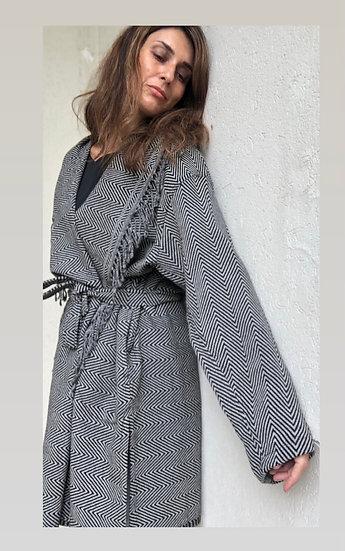 Maxi cardigan/kimono spigato nero