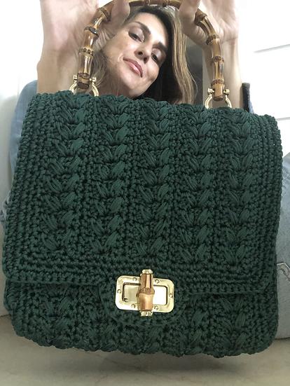 Borsa cartella crochet verde muschio