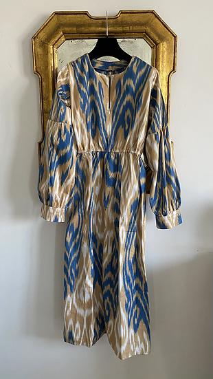 Vestiti lungo midi cotone fantasia nocciola azzurro