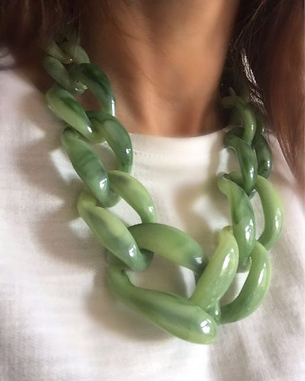 collana resina verde acqua