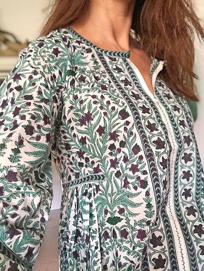 Vestito caftano lungo leggero verde acqua/viola