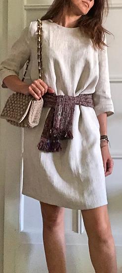 Vestito manica 3/4 lino beige c/cintura