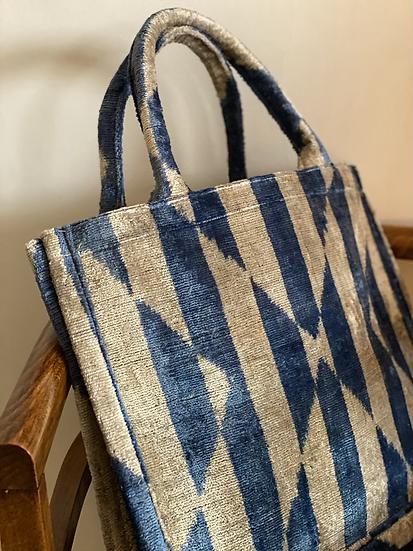 Borsa velluto blu tenue