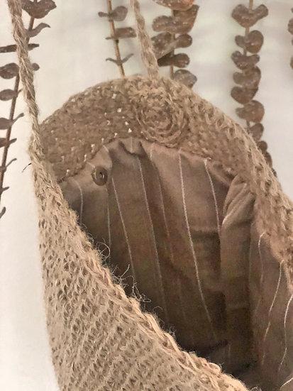 Borsa secchiello juta naturale foderata in lino