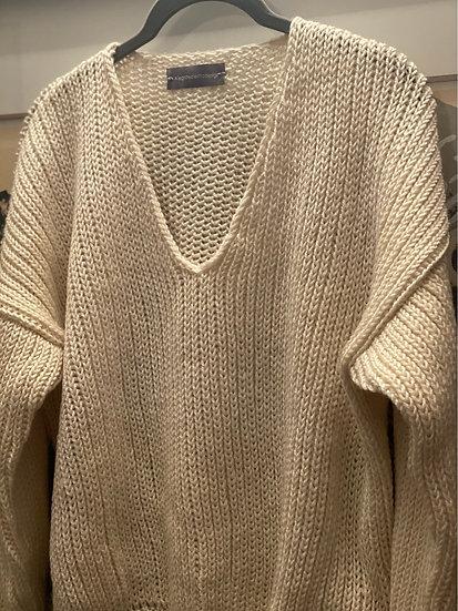 Maglione a V Biancaneve, in lana, ai ferri, fatto a mano