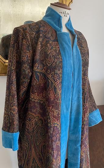 Cappottino spolverino lana bordeaux bordo turchese