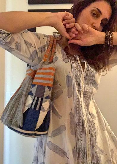 Borsa secchiello blu azzurro e arancio