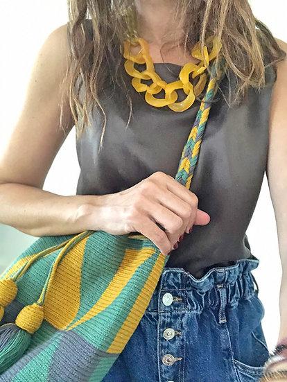Borsa secchiello tessuto a mano verde/giallo