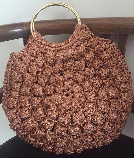round bag manici dorati color rosa antico