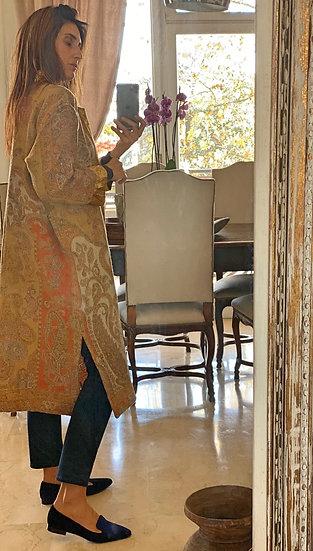 Cappottino spolverino ruggine/bronzo lana e velluto