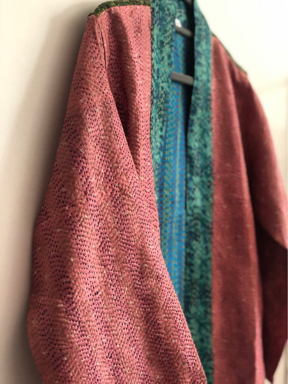 Casacca in seta rosa/azzurro, fantasia