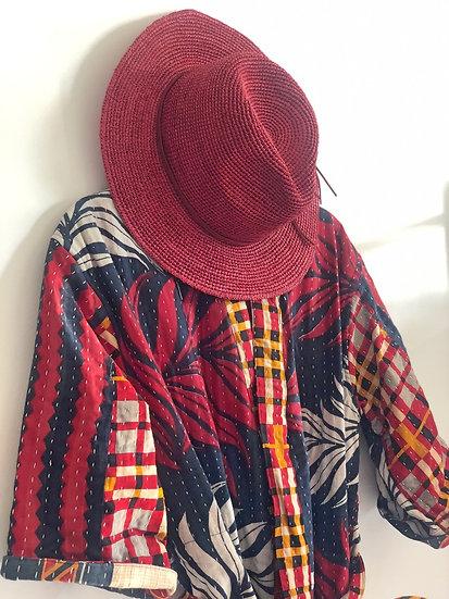 Kimono rosso-blu leggermente trapuntato