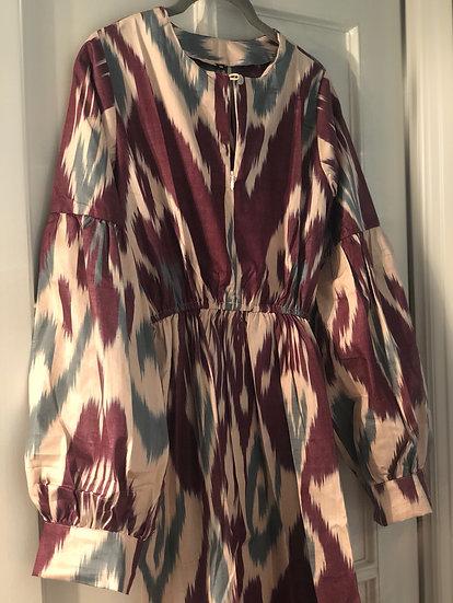Vestito lungo cotone stampa geom.melanzana celeste