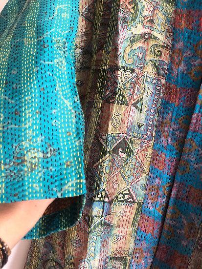 Casacca in seta turchese