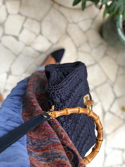 Borsa cartella blu notte con tracolla pelle