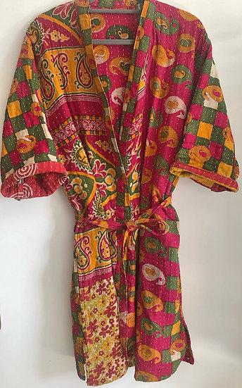 Kimono leggermente trapuntato rosso e curcuma