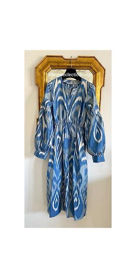 Vestito lungo cotone fantasia azzurro