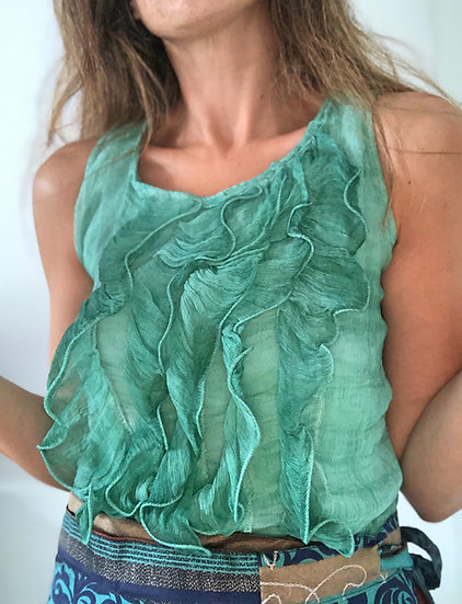Blusa con volants in seta verde acqua