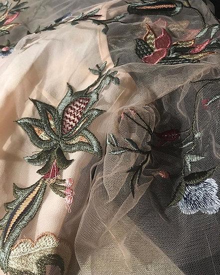 camicetta mezza manica tulle e ricami a fiori c/ canotta seta