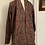 Thumbnail: Maxi cardigan pura lana e velluto bordeaux prugna