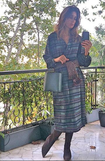 Vestito midi lana a righe verde muschio/blu notte