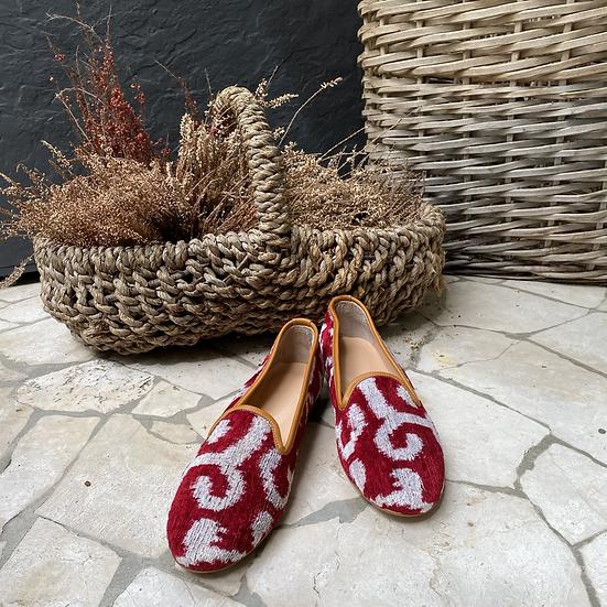 Mocassino velluto rosso avorio