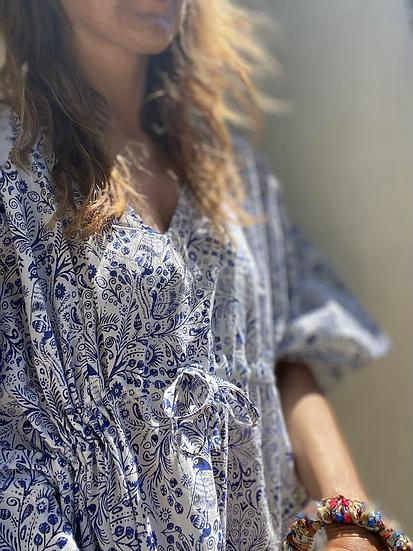 Caftano vestito fantasia blu