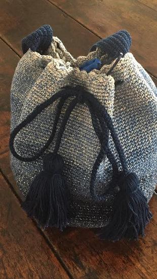 borsa uncinetto blu azzurro a tracolla