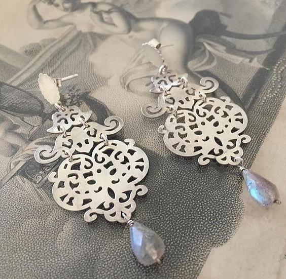 orecchini argento e pirite