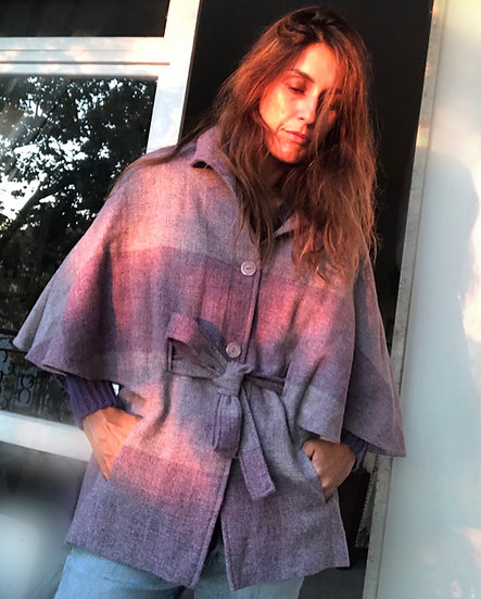 Giacchino mantella lana tartan lilla
