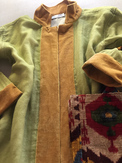 Cappottino lana e velluto lime e ocra