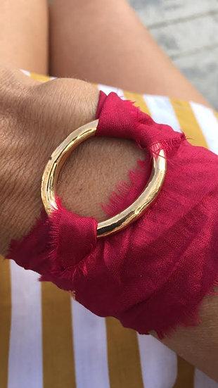 bracciale fermaglio bronzo seta fucsia