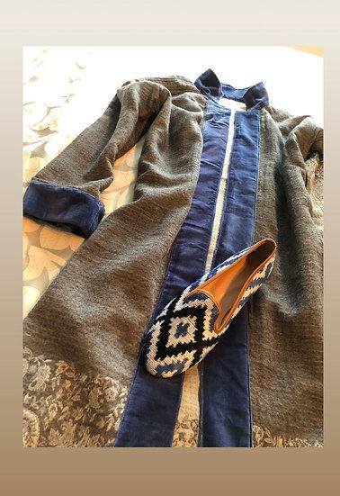 Cappottino lana grigio-blu