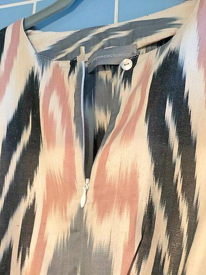 Vestito lungo cotone fantasia grigio-rosa