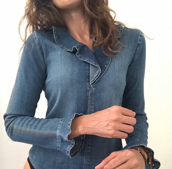 Blusa jeans con volants