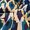 Thumbnail: Pigiama puro cotone ikat azzurro-melanzana