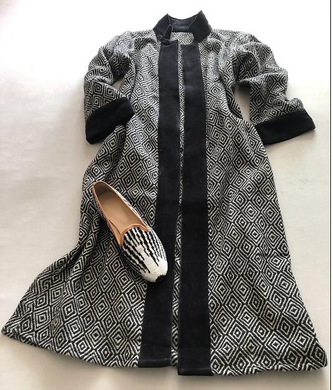 Cappottino lana e velluto bordi velluto nero