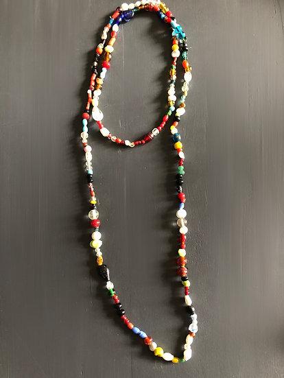 Collana lunga(2 giri)perline in vetro multicolore