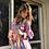 Thumbnail: Vestito cotone fantasie geometriche blu/rosa