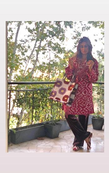 Giaccone-kimono lana ikat magenta