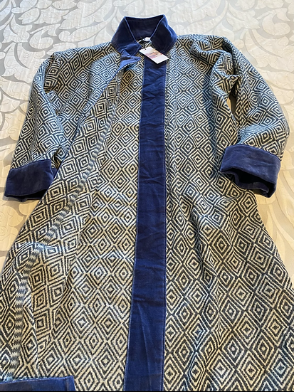 Cappottino lana ikat bordi velluto blu