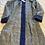 Thumbnail: Cappottino lana ikat bordi velluto blu