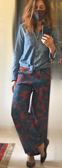 Pantaloni sartoriali palazzo rosso mosto-blu petrolio