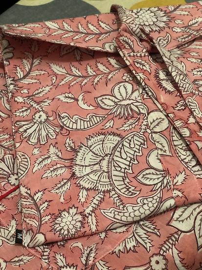 Pigiama morbido cotone rosa pallido fiori
