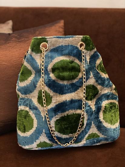 Borsecchiello velluto azzurro-verde tracolla dorata