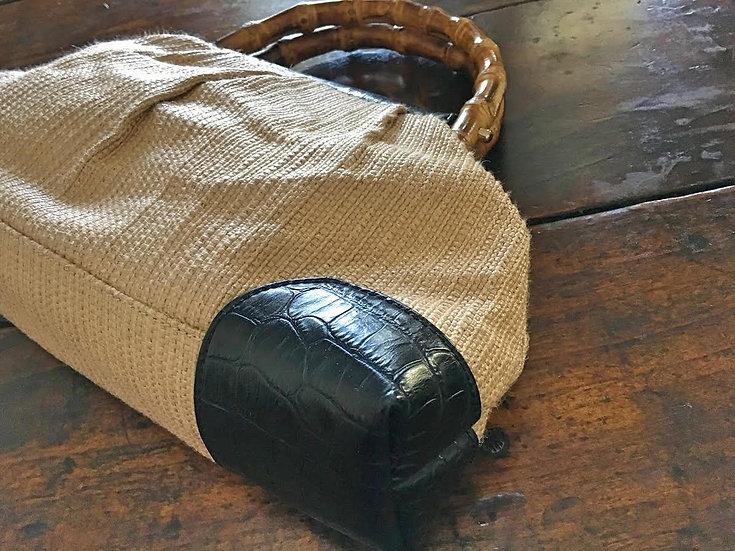 borsa a mano in tessuto, pelle nera e bambù