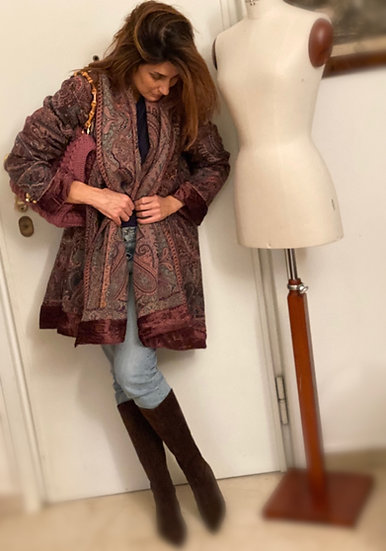 Maxi cardigan pura lana e velluto bordeaux prugna