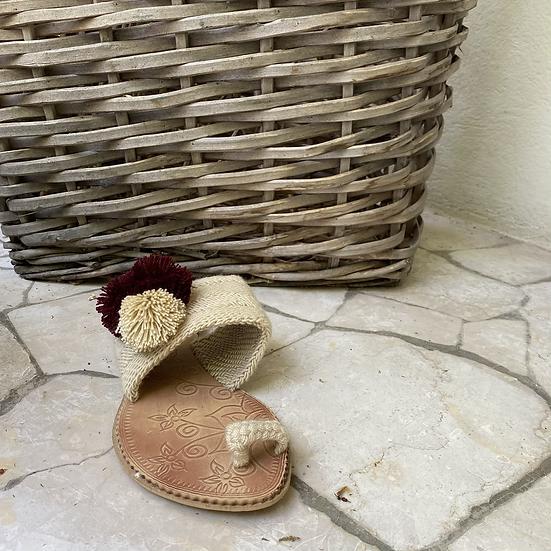 Ciabattine infradito crochet beige bordeaux