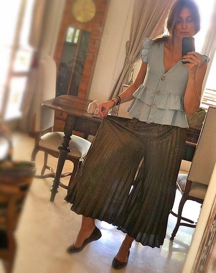 Pantalone palazzo plissé bronzo